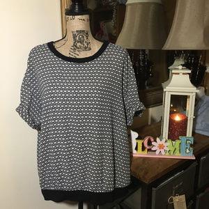 Halogen Black/White Short Sleeve Top
